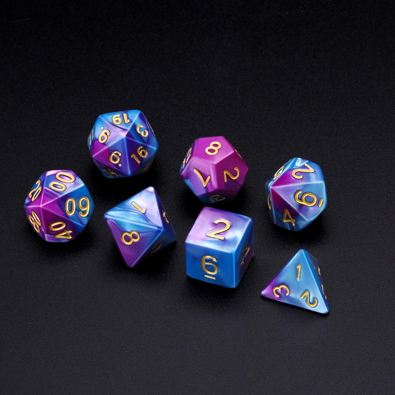 Dados Poli/édricos Set de 7-Dados para Dungeons y Dragons con Bolsa Negra Negro