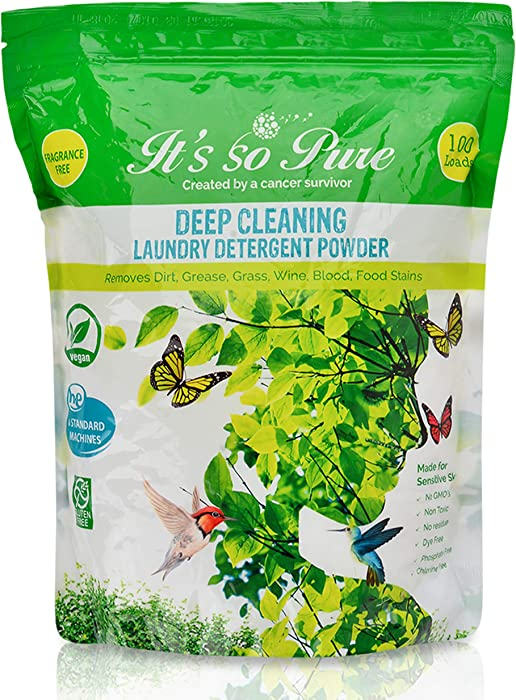 It's So Pure All Natural Laundry Detergent Powder – Deep Cleaning, Removes Dirt, Grease, Stains – Non-Toxic, Vegan, Fragrance Free Laundry for Sensitive Skin, HE Compatible (100 Loads)