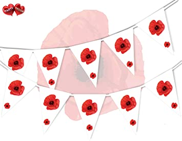 Poppy appeal remembrance day with poppy flower theme bunting banner poppy appeal remembrance day with poppy flower theme bunting banner 15 flags 12ft for guaranteed simply mightylinksfo