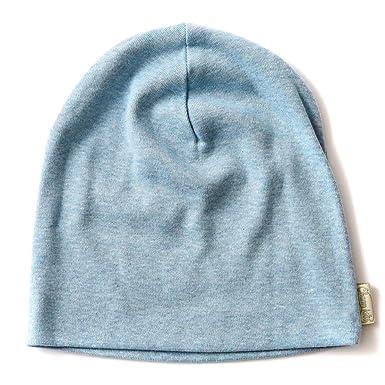 2bdb8855ea9 CHARM Organic Beanie Boys Cap - Slouchy Cotton Kids Warm Knit Hat Young  Girls Light Blue