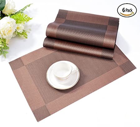 Placemats,Table Mats ISIYINER Washable Place Mats Heat Resistant PVC Set Of  6 Non
