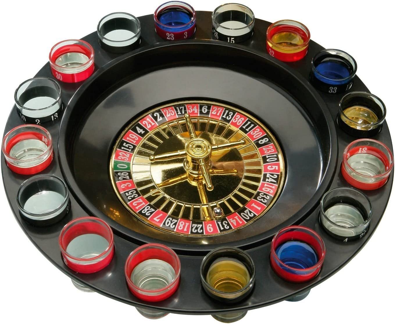 Ruleta de bebidas. Incluye 16 vasos chupito de cristal. Juego para despedida de solteros HTUK®.: Amazon.es: Juguetes y juegos