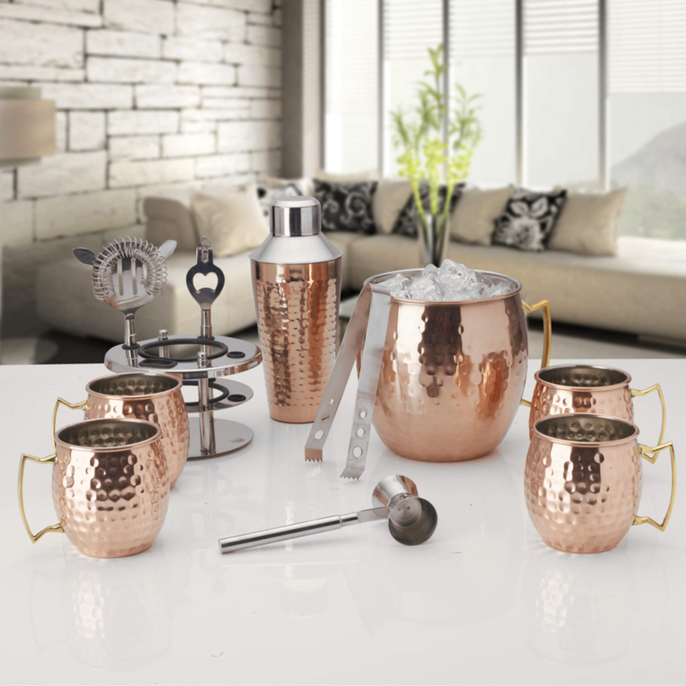 Mikasa 5215371 Oversized Hammered Moscow Mule Copper-Plated Stainless Steel Bar Set, 6-Piece,