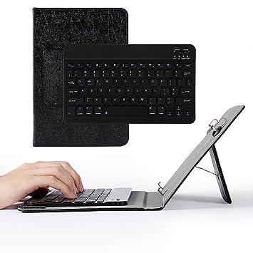 OCDAY Juego de teclado inalámbrico pequeño Bluetooth 3.0 con funda universal con soporte tipo atril, ...