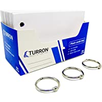 Turron Index Flash Cards Tray - 3x5 inch, Blank White, 150 Cards, 200 GSM - with Free Binder Rings for Short Notes, cue Cards, Cheat Sheets, exam, Interview Preparation