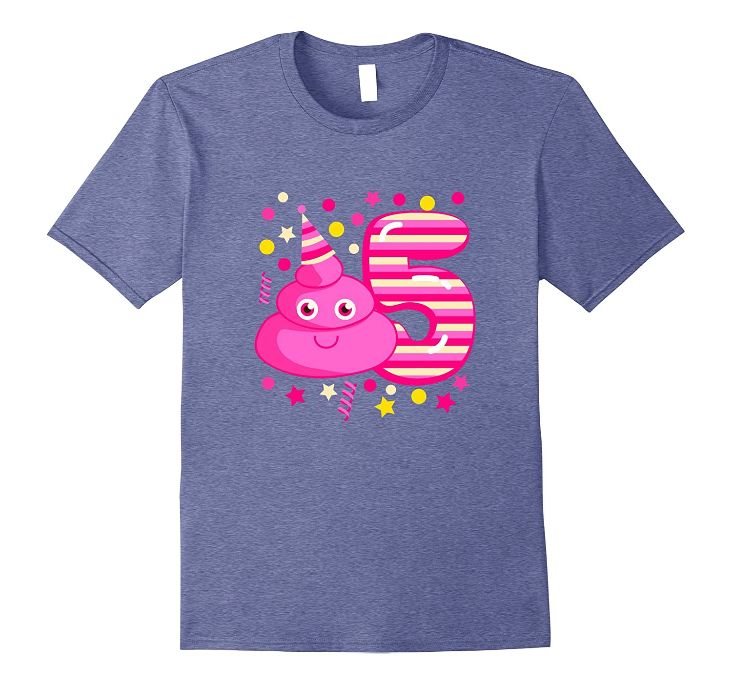 Kids Poop Emoji Birthday Shirt Five Years Old Funny Poo Tee Vaci