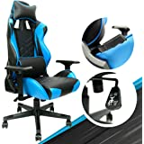 Blue Gaming Chair - Adjustable Ergonomic Office Chair with PU Leather, Computer Chair with Lumbar Support & 180° Recline, Eas