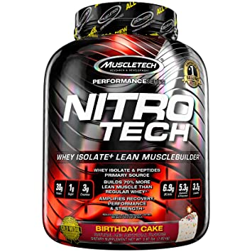 MuscleTech NitroTech Protein Powder Plus Muscle Builder 100 Whey With Isolate