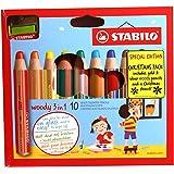 STABILO woody 3in 1Mehrzweck-Bleistift mit Anspitzer und Schablone–verschiedene Farben (10Stück)
