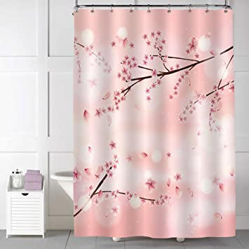 Chic Coral Cherry Blossom Tree Shower Curtain For Women And Ladies Bathroom  Shower Decorations, Vivid