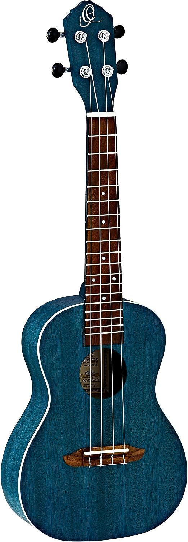 Ortega Guitars RUOCEAN RUFOREST Earth Series Concert Ukulele, Okoume Top & Body, Transparent Ocean Blue
