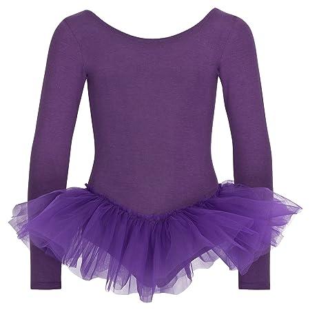 tanzmuster Kinder Ballett Trikot Alea mit Tutu aus 3 Lagen Tüll. Wunderschönes Ballettkleid aus Baumwolle mit langen Ärmeln i