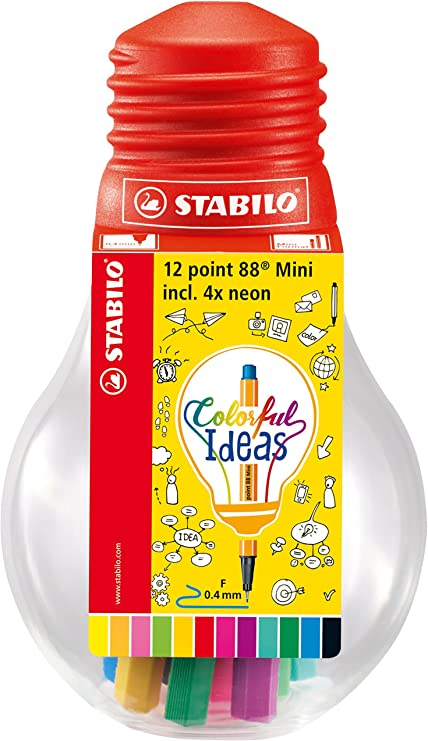 Rotulador punta fina STABILO point 88 mini - Estuche Colorful Ideas con 12 colores: Amazon.es: Oficina y papelería
