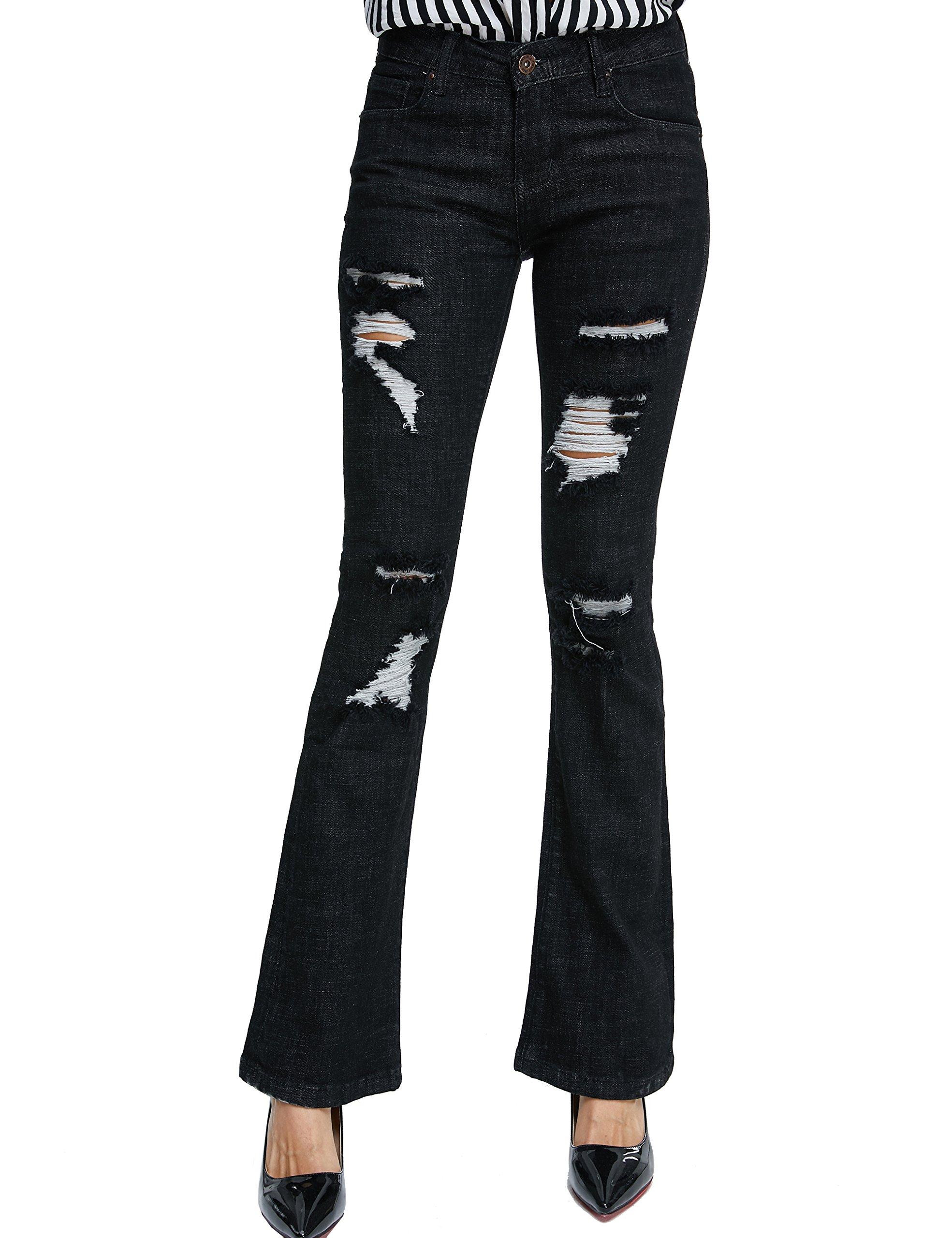 Camii Mia Women's Stretch Distressed Slim Fit Skinny Bootcut Denim Jeans (W28 x L30, Black)