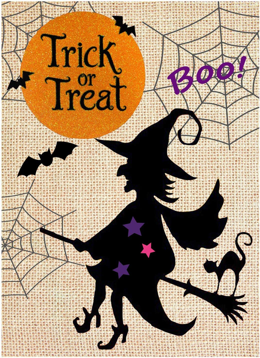 "Wamika Happy Halloween Pumpkin Witch Bats Trick or Treat Double Sided Burlap Garden Yard Flag 12"" x 18"",Scary Halloween Moon Ghost Boo Burlap Decorative Garden Flags Banner for Outdoor Home Party"