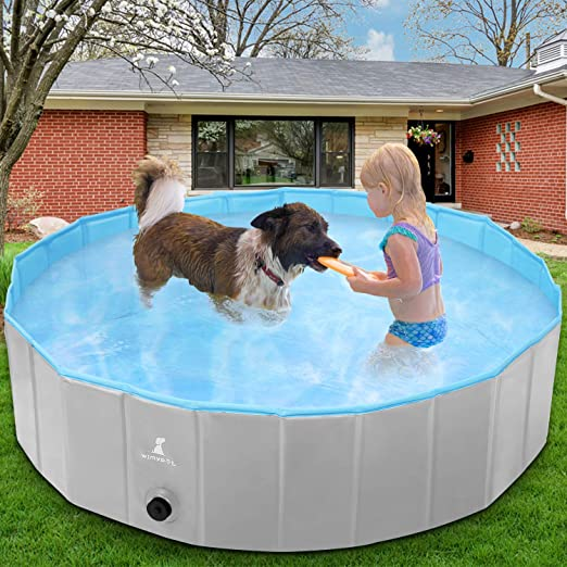 Wimypet Piscina para Mascotas o Niños Plegable, Piscina para Mascotas Bañera Plegable, Piscina para Perros, Piscina para Perros Plegable - Gris (160x30CM): Amazon.es: Productos para mascotas