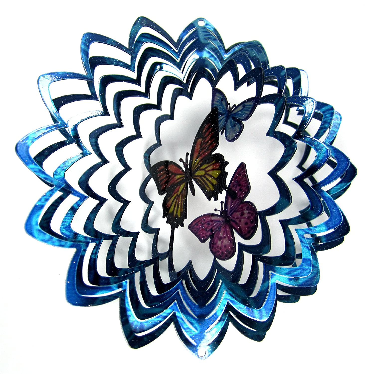 WorldaWhirl Whirligig 3D Wind Whirligig Spinner Wind Hand Painted Butterfly Stainless Steel Twister Butterfly (17cm Inch, Multi Colour Blue Silver) B01KUYSTSA, 山形村:66127a81 --- artmozg.com