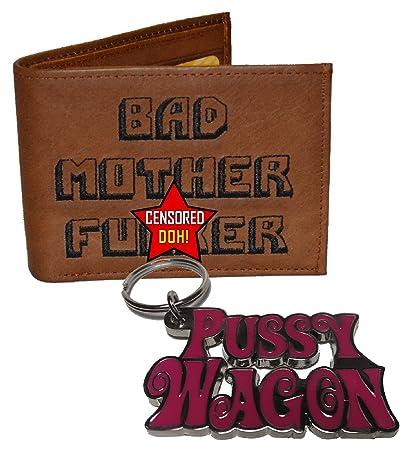 Cartera y llavero de BMF Wallets, con texto en inglés «Bad