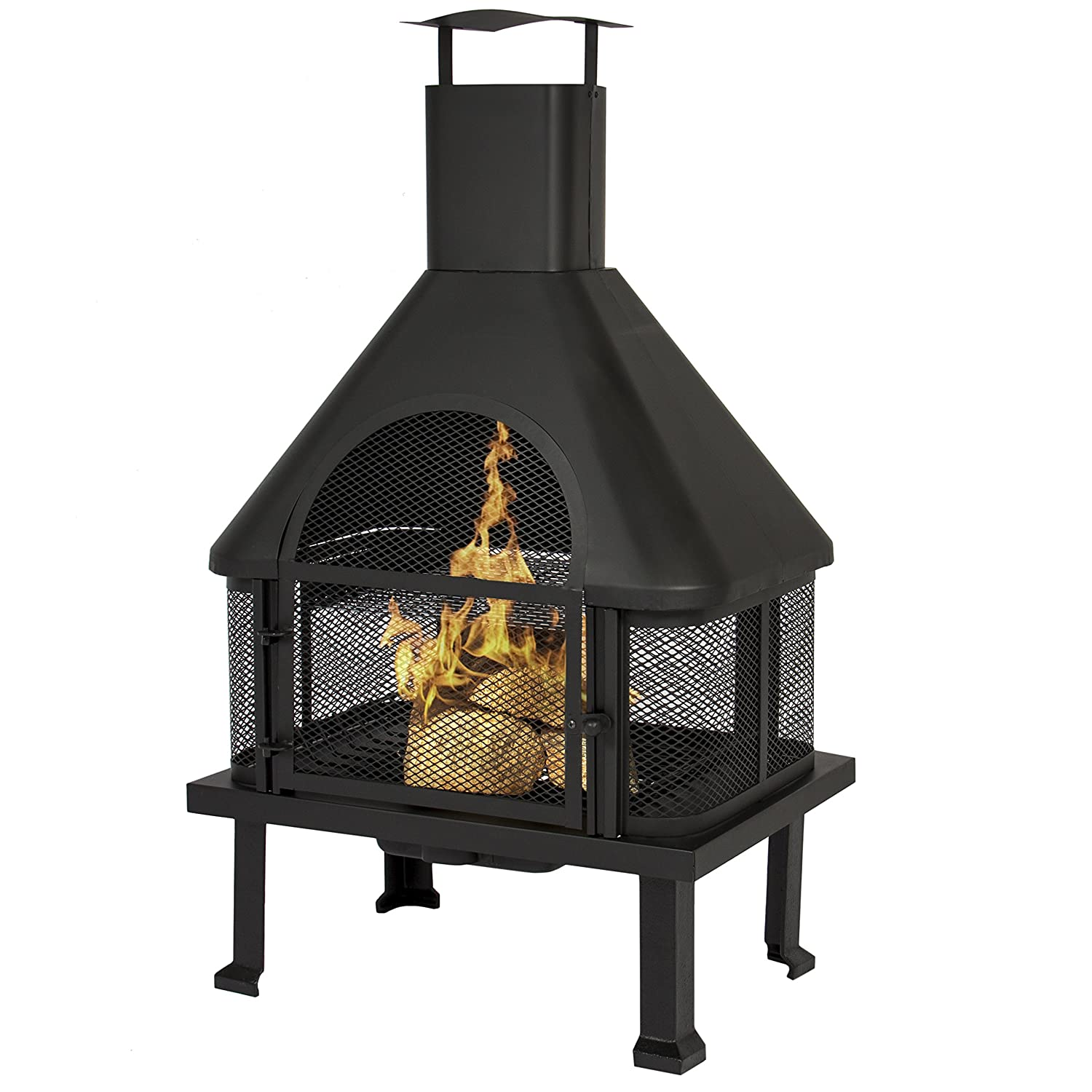 amazon com best choice products firehouse fire pit with chimney