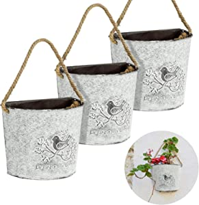 3 Pcs Galvanized Metal Wall Pocket Planter- Farmhouse Style Wall Hanging Tin Olive Bucket Vintage Rustic Flowers Vase Planter Holder with Rope for Indoor Outdoor Decor Succulents Plants Flower Growing