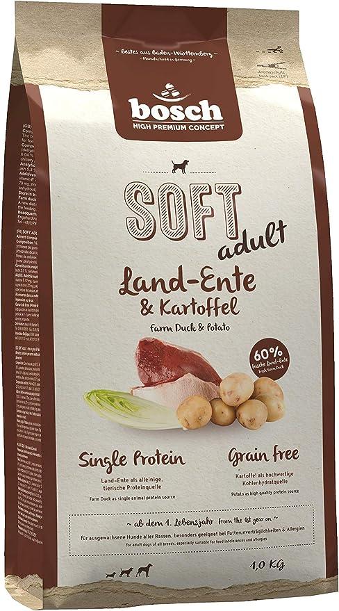 bosch HPC SOFT adult | Pato y Patata | Comida semihúmeda (18 % humedad residual) para perros adultos de todas las razas | Sin Cereales | 1 kg