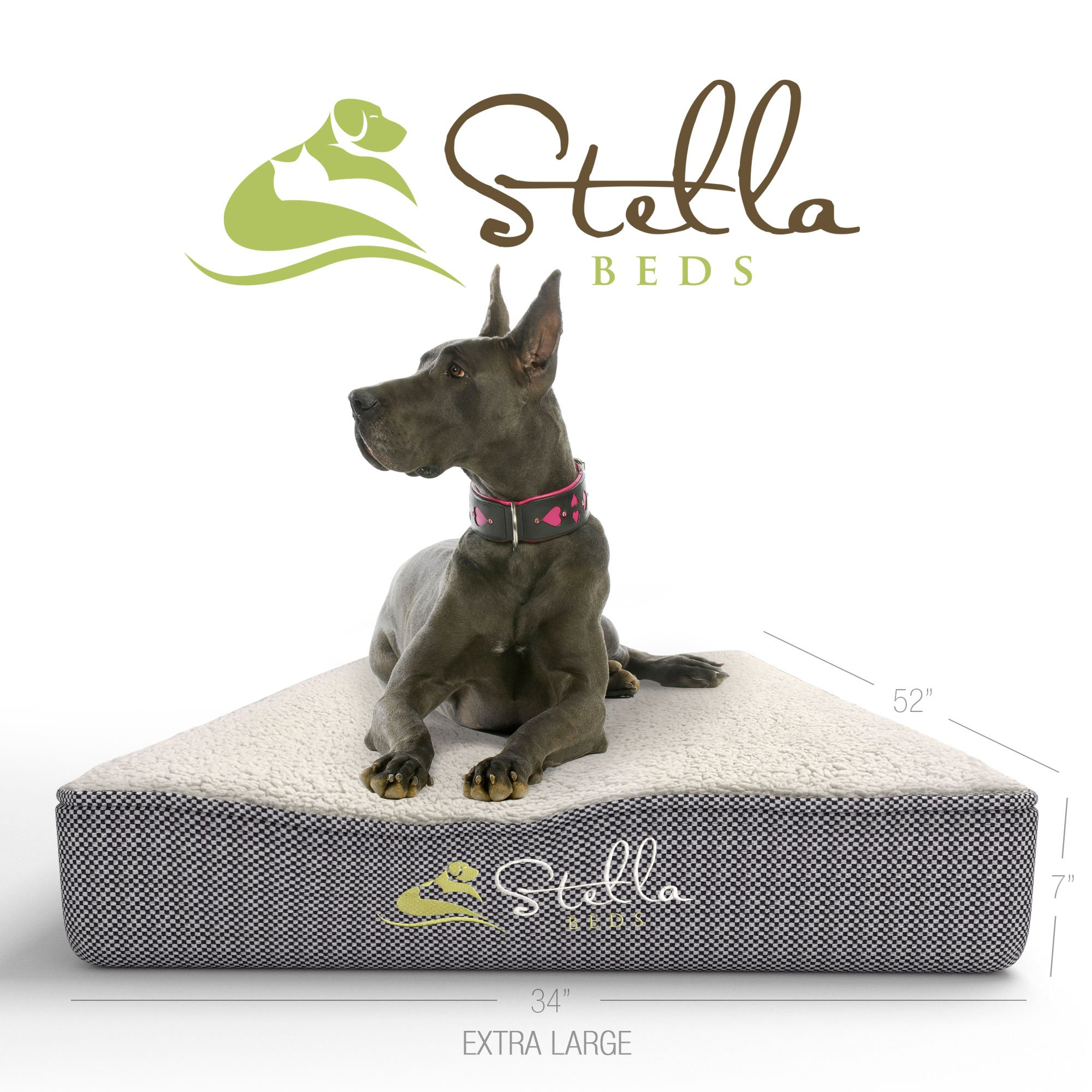 Stella Beds Elevated Memory Foam Orthopedic Dog Bed with Removable Cover, Extra Large 52-Inch