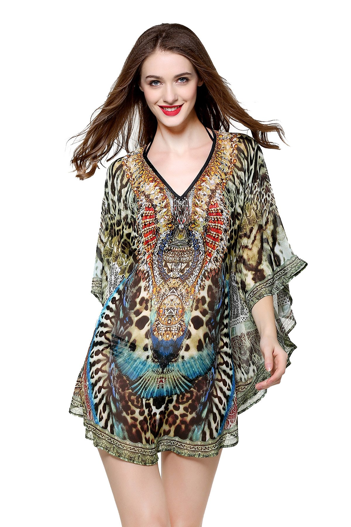 MYPASSA Cover Ups for Swimwear Women Summer Leopard Floral Chiffon Bathing Suit