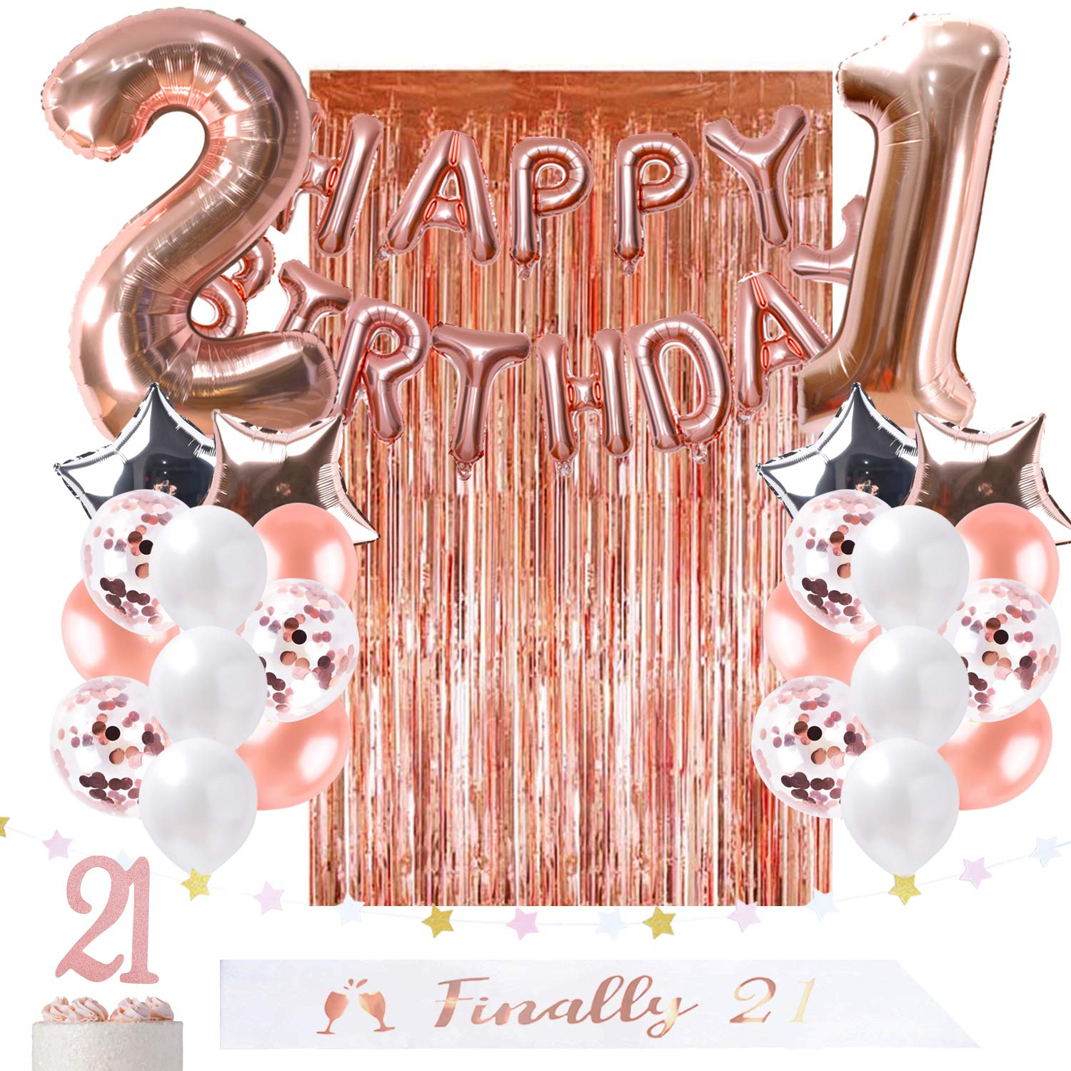 Amazon OUGOLD 21st Birthday Decorations Rose Gold Party Supplies For Her Finally Legal 21 SashFoil Happy Balloon Curtain Backdrop Props Or