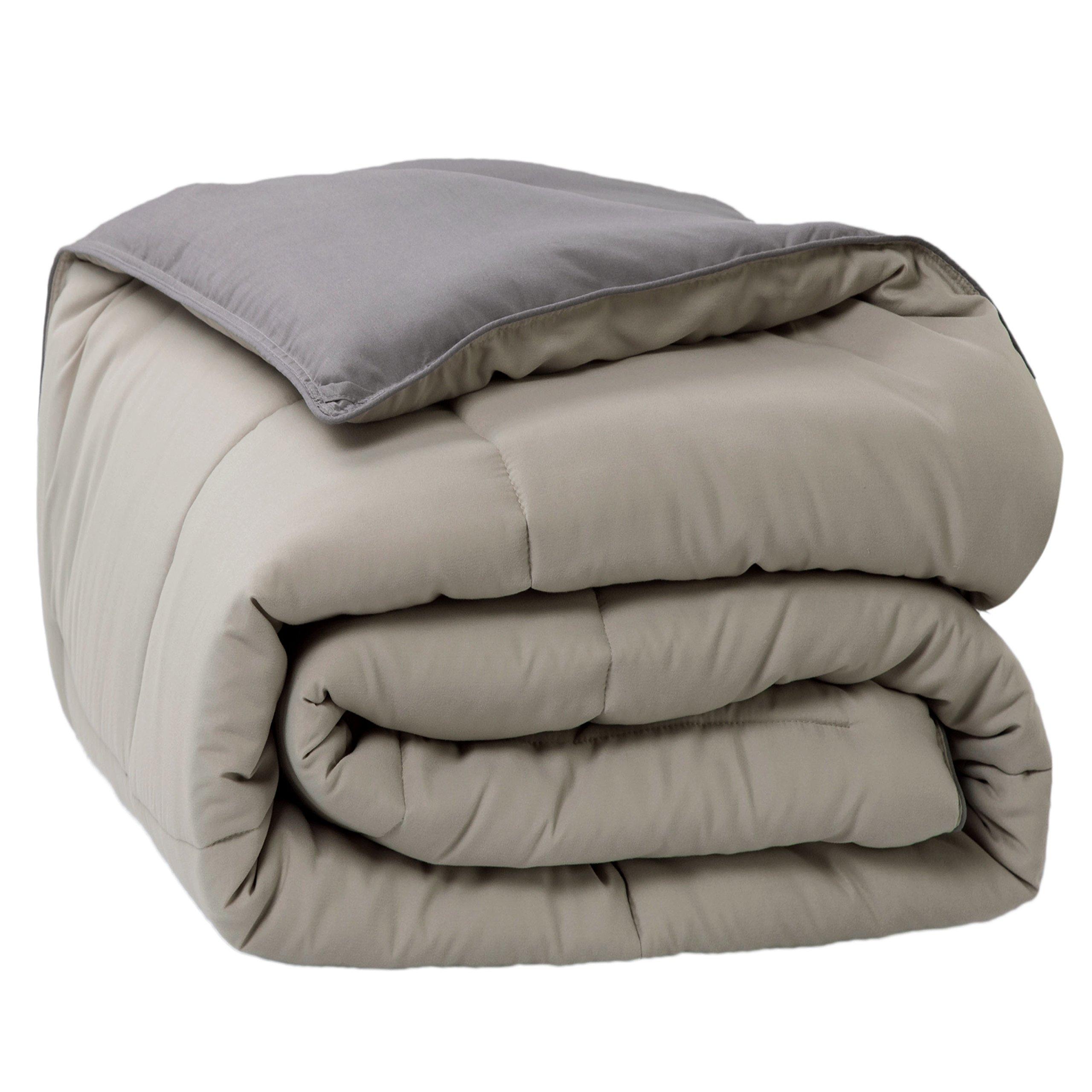 Bedsure Down Alternative Comforter Queen/Full Size Dark Grey Light Grey Reversible Microfiber Comforter Duvet