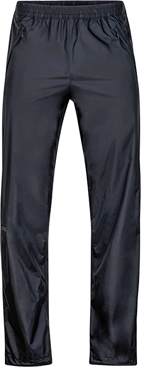 Image of a long rain pants with garterized waist and a full-zipper on both sides.