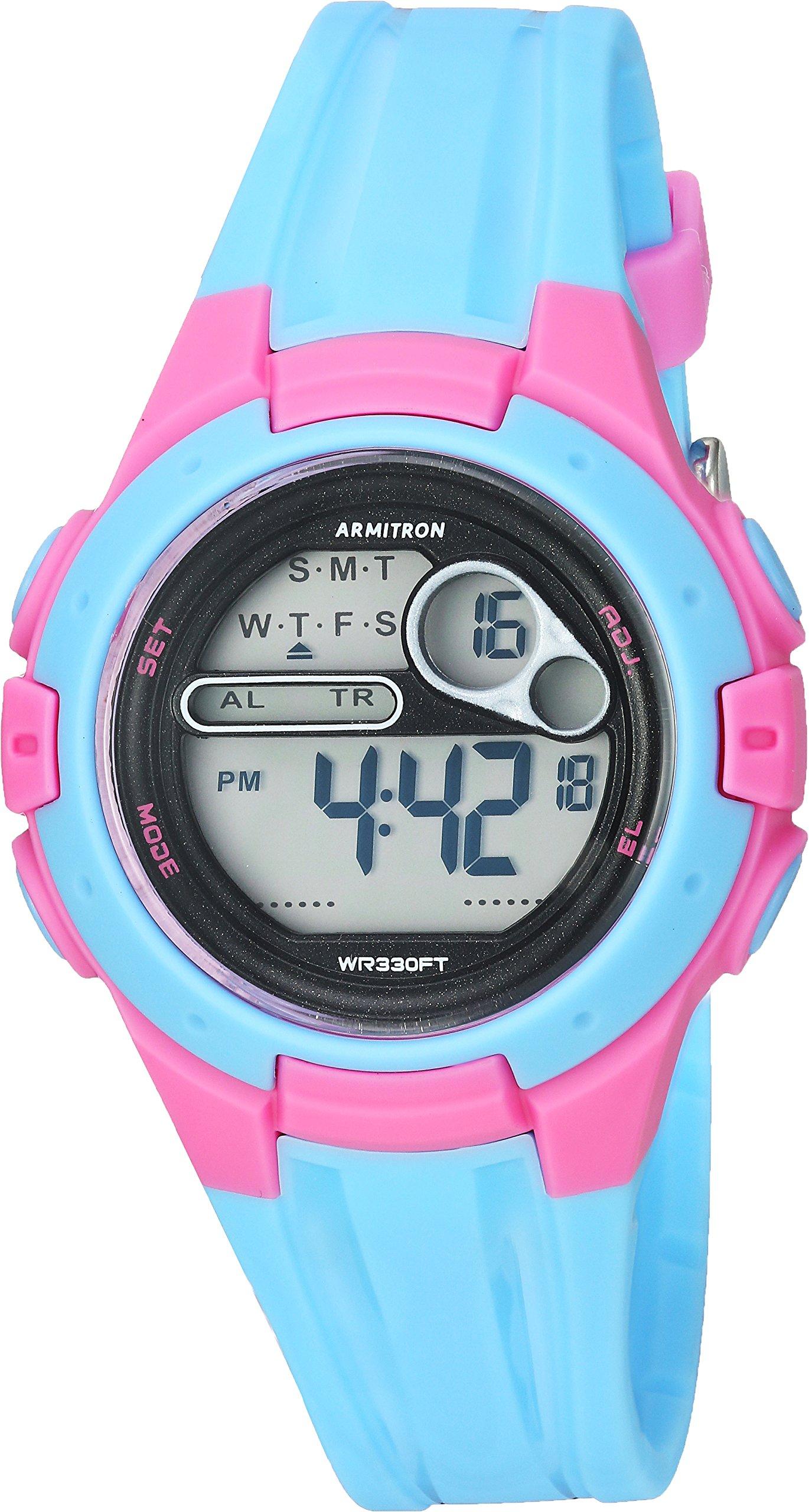 Armitron Sport Women's 45/7079LBL Pink Accented Digital Chronograph Light Blue Resin Strap Watch by Armitron Sport
