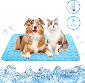 SUNFURA Dog Cooling Mat, Washable Ice Silk Pet Self Cooling Pad, Pup Cat Mattress Breathable Crate Blanket for Kennels, Beds, Couch and Car Seat
