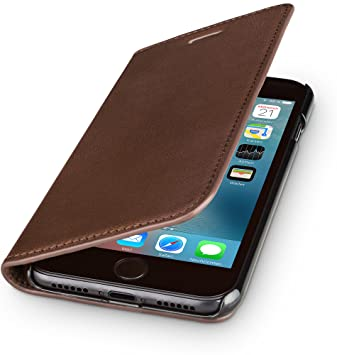 new style 3f57f 9a766 wiiuka Genuine Leather Case TRAVEL NATURE Apple iPhone 8 and iPhone 7  GERMAN-LEATHER Premium Wallet Slim Brown Design Cover with Card Holder and  Stand ...