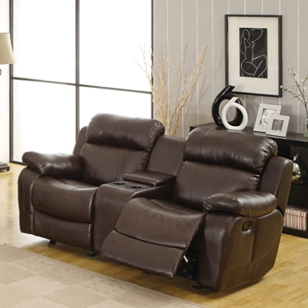 Homelegance Marille Reclining Loveseat w/ Center Console Cup Holder, Brown Bonded Leather