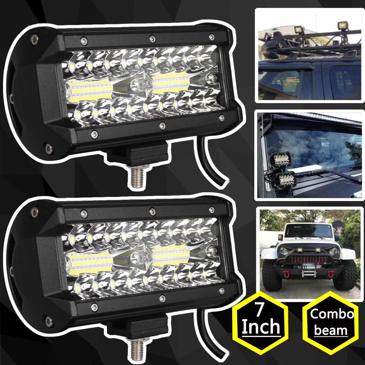 2Pcs Waterproof 120W Car SUV Offroad Dual Color LED Work Light Fog Driving Light
