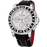 Carl F. Bucherer Men's 0010618132301 Patravi Silver Chronograph Dial Black Strap Watch