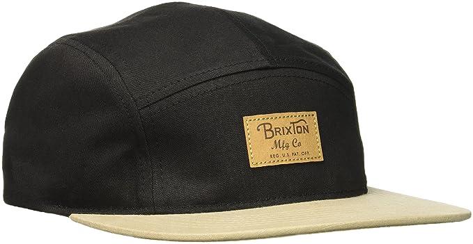 Brixton Mens Grade 5 Panel Adjustable Leather Strap Back Cap, Black/tan One Size