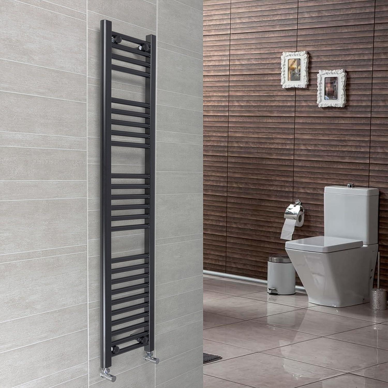 300 mm de ancho negro toallero radiador plano escalera para baño con estilo, acero, 1600mm High: Amazon.es: Hogar