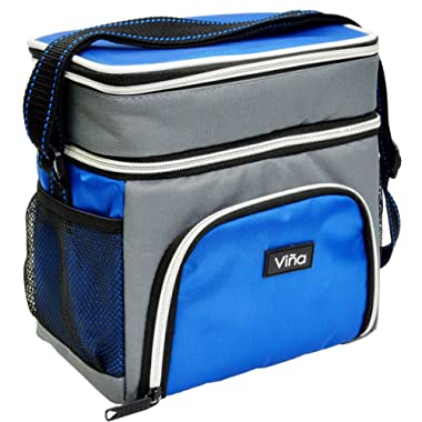 Insulated Lunch Cooler Bag, Vina Small Adult Dual Compartment Reusable Bento Lunch Box Tote with Shoulder Strap for Men and Women, Blue