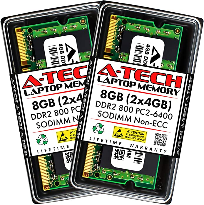 A-Tech 8GB (2x4GB) DDR2 800MHz SODIMM PC2-6400 1.8V CL6 200-Pin Non-ECC Unbuffered Laptop RAM Memory Upgrade Kit