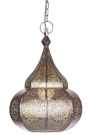 Lámpara Oriental Marroquí - lamparilla colgante - farola de techo Ilham Plateado - 40cm - muy práctica para una iluminación excelente - transmite una ...