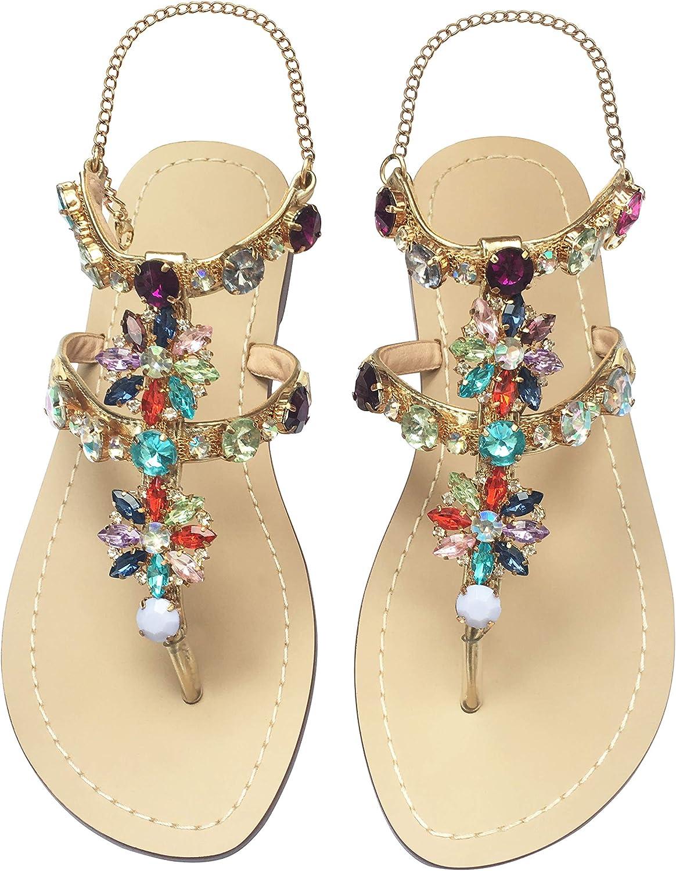 Women/'s Summer Beach Ankle Strap Sandals Ladies Toe Ring Flip Flop Flat Shoes