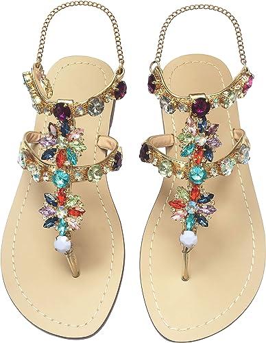 Women/'s Ladies Bling Rhinestone Summer Split size Beach Flat Boho Sandals Shoes