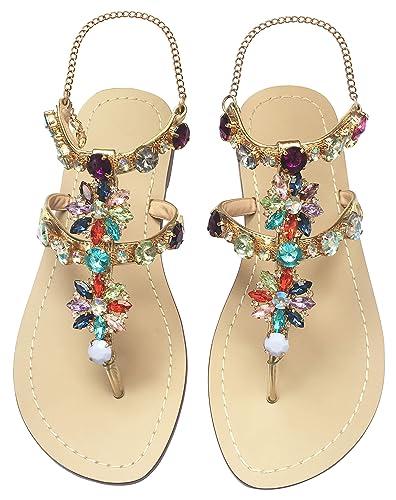 080fad02dd19db JF shoes Women s Crystal Rhinestone Bohemia Flip Flops Summer Beach T-Strap Flat  Sandals Size