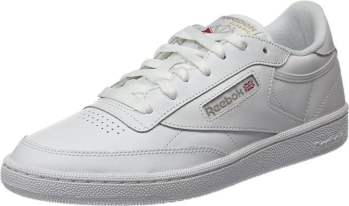 Reebok Club C 85 Sneakers Fitnessschuhe Damen Weiß mit grauer Schrift