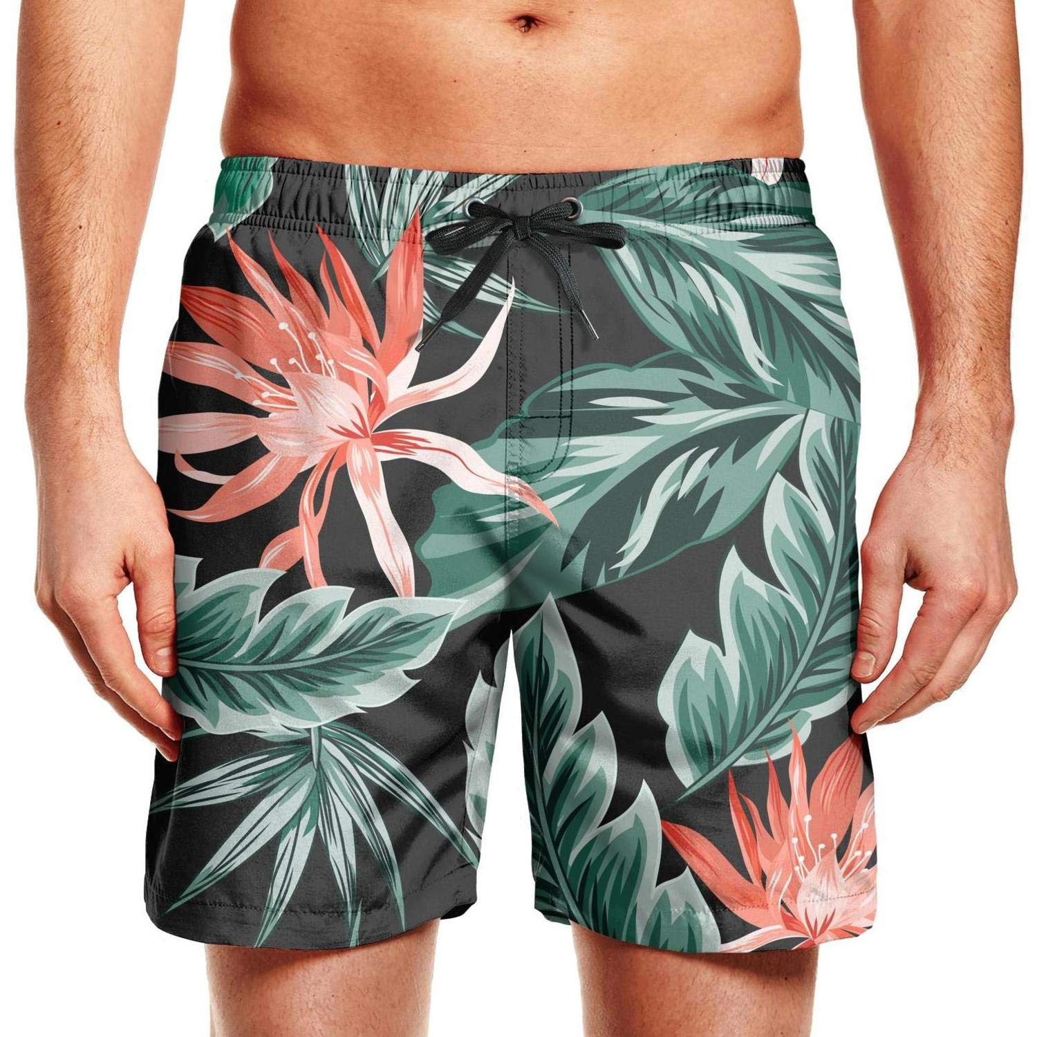 Mens Tropical Floral Hawaii Trees Foliage Swim Trunks Quick Dry Beach Shorts Assorted Board Shorts