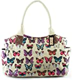 GFM Oilcloth Tote Shopper Day Bag Polka Dot / Birds/ Floral/ Shoes /OWL / Butterfly Skull Patterns