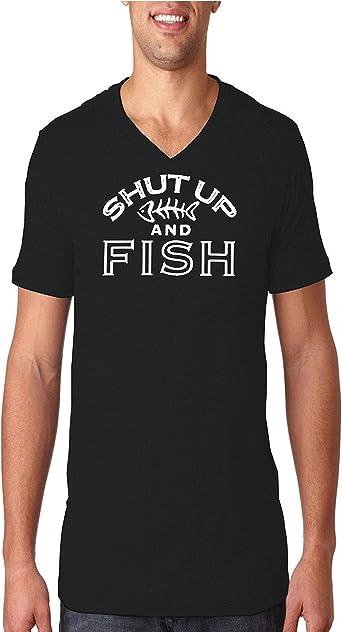 Shut Up And Fish V-Neck T-Shirt Funny Fishing