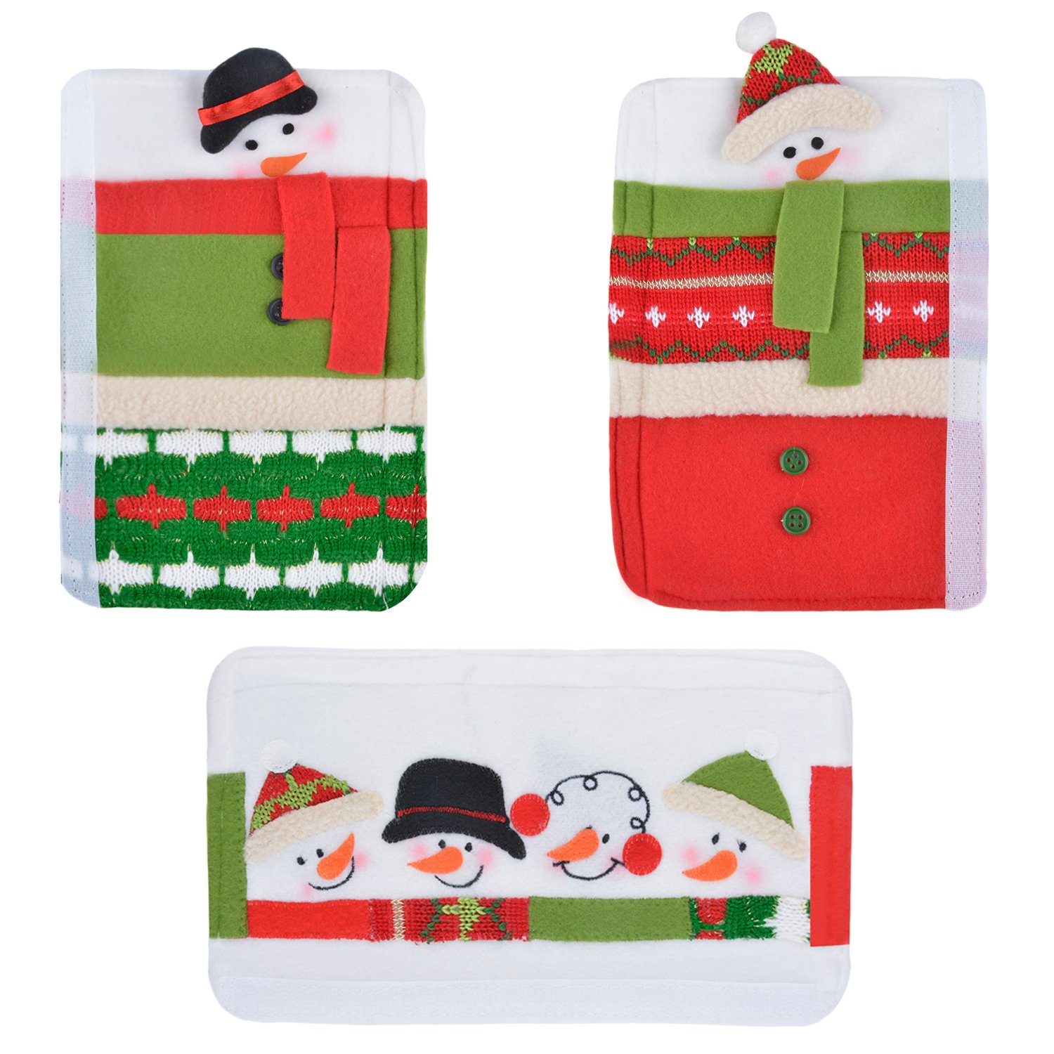 Christmas Handle Cover, Coxeer 3PCS Christmas Refrigerator Door Handle Holder Snowman Kitchen Appliance Fridge Microwave Dishwasher Door Cloth Protector