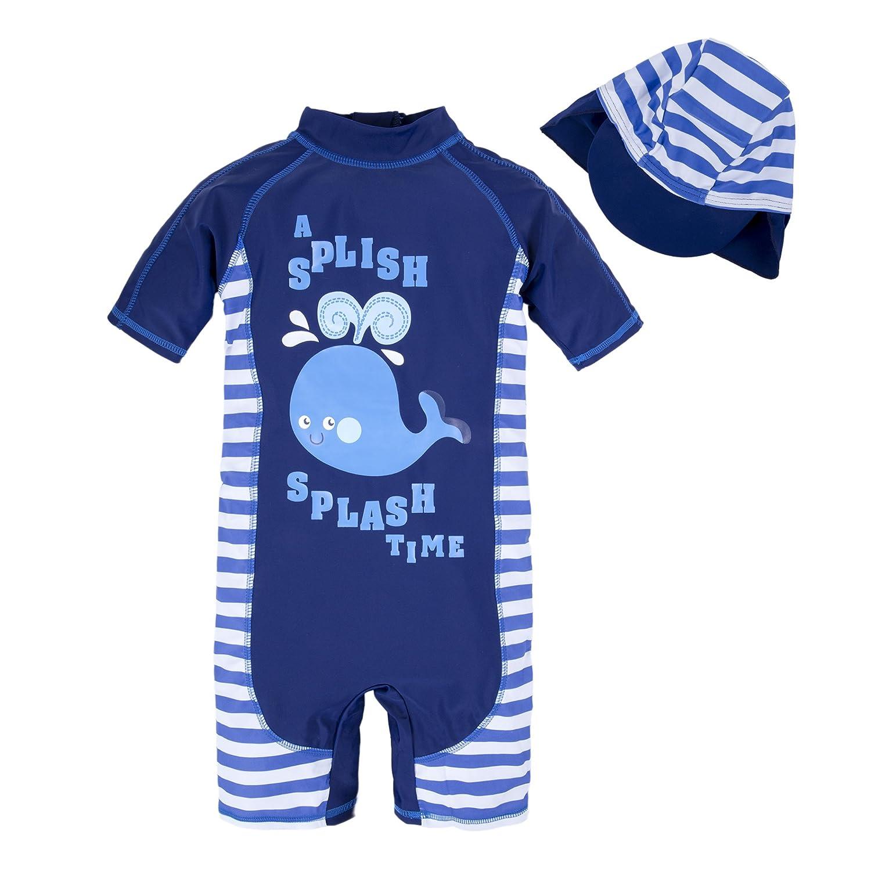 BIG ELEPHANT Kids Boys'2 Pieces Stripe Animals Beach Swimsuit Swimwear with Hat Q67C
